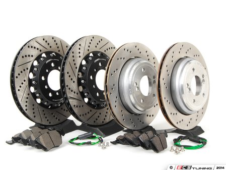 ES#2739009 - 34112282445KT - Performance Front & Rear Brake Service Kit - Featuring front ECS 2-piece cross drilled and slotted rotors, rear genuine euro BMW semi-floating cross drilled rotors, and Hawk HPS pads - Assembled By ECS - BMW