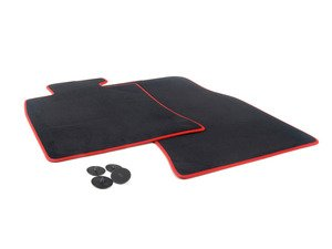 ES#2673935 - 51477330809 - JCW GP2 MINI Floor Mats Front Set - Priced As Set (LHD) - Replace or upgrade to factory GP2 MINI mats : black velour with red piping - Genuine MINI - MINI