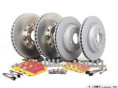 ES#2602383 - 95535140161PEKT1 - Performance Front & Rear Brake Service Kit - Featuring genuine Porsche and Zimmerman Z-coated rotors, and EBC YellowStuff brake pads - Assembled By ECS - Porsche