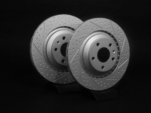 ES#2539140 - 4F0601FXSGMTLR - Rear Dimpled & Slotted Brake Rotors - Pair (330x22) - Featuring GEOMET protective coating. - ECS - Audi