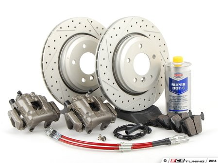 ES#2609158 - 34116765881DSKT - OE Rear Big Brake Kit - (320x22) - Featuring ECS GEOMET coated cross drilled and slotted rotors and Hawk HPS pads! Price includes $140.00 in refundable core charges. - Assembled By ECS - BMW