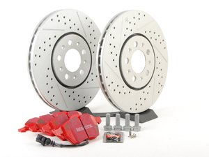 ES#2696314 - 3A0615301A - Performance Front Brake Service Kit - All parts necessary for a front brake upgrade featuring ECS GEOMET cross-drilled/slotted rotors and EBC RedStuff brake pads - Assembled By ECS - Volkswagen