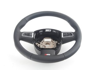 ES#450695 - 8K0419091BBWUL - 3-Spoke Multi Function Steering Wheel - Black - Perforated leather wrapped steering wheel, airbag not included - Genuine Volkswagen Audi - Audi
