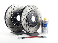 ES#2739012 - 8E0615301TKT5 - Front Brake Kit - Stage 1 - 2-Piece Cross Drilled & Slotted Rotors (345x30) - Upgrade your brake system with 2-piece rotors and stainless steel lines - ECS - Audi