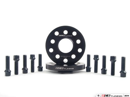ES#2748195 - ECS10158KTWB1 - ECS Wheel Spacer & Bolt Kit - 17.5mm With Black Ball Seat Bolts - Includes everything you need to install spacers on two wheels - ECS - Audi Volkswagen