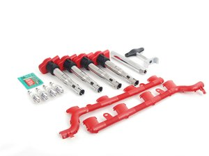 ES#2748513 - 06e905115es2kt - Ignition Service Kit With Coil Pack Wiring Conduit and Service Tools - Includes four genuine OEM red coil packs, NGK iridium spark plugs and coil pack conduit with all the needed service tools - Assembled By ECS - Volkswagen