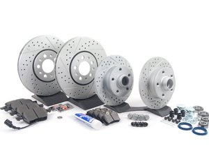 ES#2696284 - 3A0615301AKT7 - Performance Front & Rear Brake Service Kit - All of the parts necessary for a complete performance brake upgrade featuring ECS GEOMET cross-drilled/slotted rotors and Hawk HPS brake pads - Assembled By ECS - Volkswagen