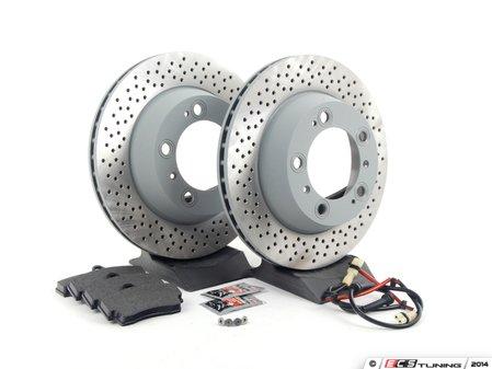 ES#2594744 - 98735240301ROEKT - Rear Brake Service Kit - Featuring Sebro rotors and Textar brake pads - Assembled By ECS - Porsche