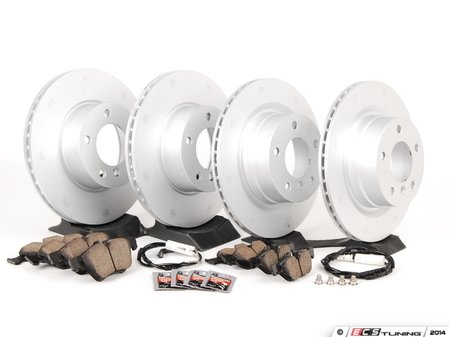 ES#2649797 - 34116854998KT4 - Front And Rear Brake Service Kit - Featuring Zimmermann rotors and Akebono euro ceramic pads - Assembled By ECS - BMW