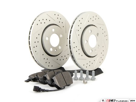 ES#2581472 - D308RRPSKT - Performance Front Brake Service Kit (288x25) - Featuring ECS GEOMET cross drilled & slotted rotors and Hawk HPS pads - Assembled By ECS - Volkswagen