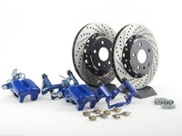 ES#2739068 - MK5R32REAR2PCKT -  Rear Big Brake Kit - 2-Piece Cross Drilled & Slotted Rotors (310x22) - Upgrade your stopping power to the MKV R32 setup with 2-piece rotors! - Assembled By ECS - Audi Volkswagen