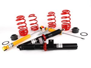 ES#11413 - 39258-17 - Premium Performance Coilover Kit - Fixed Dampening - For the daily driver. Featuring lightweight, aluminum front struts. Height adjustable from 1.0 - 2.5 on average - H&R - Audi Volkswagen