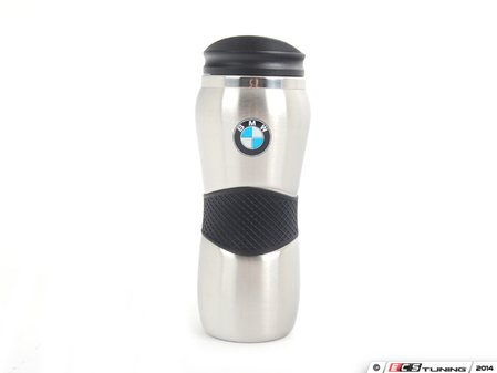 ES#1833384 - 80900439610 - Stainless Steel Travel Mug - Finished in stainless steel with a roundel and rubber grip - Genuine BMW - BMW