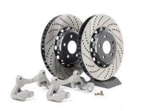 ES#2628456 - 000690ECSBBKKT - Front Big Brake Kit - Stage 1 - 2-Piece Cross Drilled & Slotted Rotors (345x30) - Upgrade to the stopping power of the Audi S4/5 - ECS - Audi