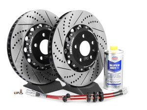 ES#2730485 - 8K0698301MKT4 - Front Brake Kit - Stage 1 - 2-Piece Cross Drilled & Slotted Rotors (345x30) - Upgrade your brake system with 2-piece rotors and stainless steel lines - ECS - Audi