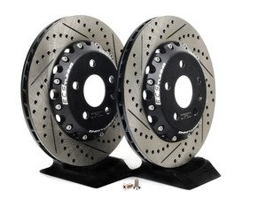 ES#2718299 - 000036ECS02AKT -  Rear Cross-Drilled & Slotted 2-Piece Semi-Floating Brake Rotors - Pair (310x22) - Direct bolt-on replacement - Save 5.30lbs of unsprung weight for enhanced performance! - ECS - Audi Volkswagen