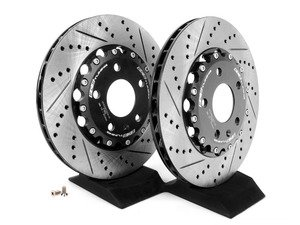 ES#2635798 - 001525ECS01AKT - Rear Cross Drilled & Slotted 2-Piece Brake Rotors - Pair (300x22) - Direct bolt-on replacement - 15% less weight! - ECS - Audi