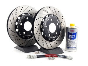 ES#2739013 - 8E0615601RKT5 - Rear Brake Kit - Stage 1 - 2-Piece Cross Drilled & Slotted Rotors (300x22) - Upgrade your brake system with 2-piece rotors and stainless steel lines - ECS - Audi