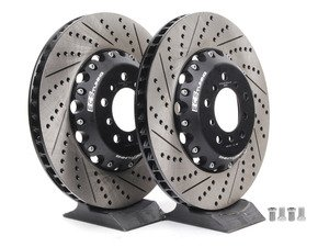 ES#2712810 - 001004ECS01AKT - 2-Piece Lightweight Front Brake Rotors - Pair (360x30) - Direct bolt-on cross-drilled and slotted replacement - 2-piece semi-floating rotors offer reduced weight and additional cooling capacity versus OEM for improved braking, handling, and ride quality! - ECS - BMW