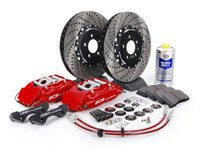 ES#262958 - ECS993500 - Stage 3 Big Brake Kit - Cross-Drilled & Slotted Rotors (332x32mm) - Red ECS 4-piston calipers, caliper carrier brackets, pads, two-piece rotors, exact-fit stainless steel lines, and hardware - ECS - Volkswagen