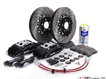 ES#262961 - ECS993501 - Stage 3 Big Brake Kit - Cross-Drilled & Slotted Rotors (332x32mm) - Black ECS 4-piston calipers, caliper carrier brackets, pads, two-piece rotors, exact-fit stainless steel lines, and hardware - ECS - Volkswagen