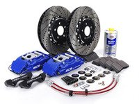ES#514244 - ECS993502 - Stage 3 Big Brake Kit - Cross-Drilled  Slotted Rotors (332x32mm) - Blue ECS 4-piston calipers, caliper carrier brackets, pads, two-piece rotors, exact-fit stainless steel lines, and hardware - ECS - Volkswagen