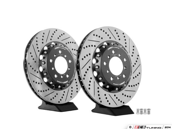 ES#2677765 - 000505ECS02KT - 2-Piece Lightweight Front Brake Rotors - Pair (325x28) - Direct bolt-on cross-drilled and slotted replacement - 2-piece semi-floating rotors offer reduced unsprung weight and additional cooling capacity versus OEM for improved braking, handling, and ride quality! - ECS - BMW