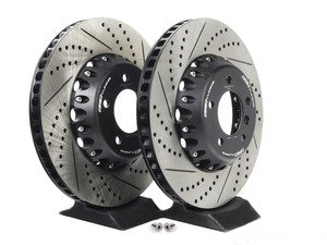 ES#2717944 - 003294ECS01KT - 2-Piece Lightweight Front Brake Rotors - Pair (348x30) - Direct bolt-on cross-drilled and slotted replacement offering a 4.5lbs weight savings per rotor for improved braking, handling, and ride quality! - ECS - BMW