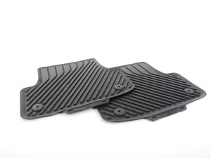 ES#2723316 - 8V5061512041 - Rear All Weather Rubber Floor Mats - Black - Deep grooves to trap dirt, water, and snow - Genuine Volkswagen Audi - Audi