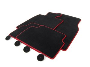 ES#2596909 - 51477324833 - MINI Velours Floor Mats Carbon Black / Red Pipping Set ( Front & Rear ) - Priced As Set - Replace or upgrade to factory MINI mats : Hampton Edition - Genuine MINI - MINI