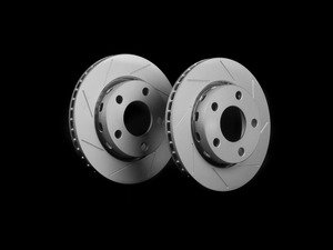 ES#2523883 - 8D0601SLGMTLRA - Rear Slotted Brake Rotors - Pair (256x22) - Featuring GEOMET protective coating. - ECS - Audi