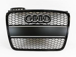 ES#6643 - 8E0898002 - RS4 Black Optic Grille Kit - With Brushed Aluminum Plate Filler - Upgrade your exterior look - Genuine Volkswagen Audi - Audi