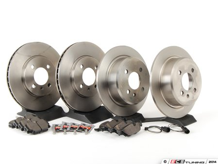 ES#2762731 - 34111160915KT1 - Performance Front And Rear Brake Service Kit - Featuring Brembo blank rotors and Hawk HPS pads - Assembled By ECS - BMW