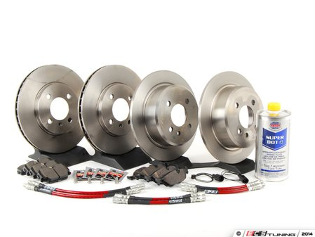ES#2762754 - 34111160915KT6 - Performance Front And Rear Brake Service Kit - Featuring Brembo rotors, Hawk HPS pads and ECS Exact-Fit Stainless Steel Brake Lines - Assembled By ECS - BMW