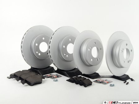 ES#2762657 - 2034210312KT11 - Front & Rear Brake Service Kit - Featuring Meyle rotors and OP Parts pads - Assembled By ECS - Mercedes Benz