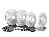 ES#2725348 - JETVSLTPRFKITHKT - Performance Front & Rear Brake Service Kit (288x25/260x12) - Featuring ECS GEOMET cross-drilled & slotted rotors and Hawk HPS pads - Assembled By ECS - Volkswagen