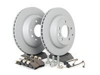 ES#2602269 - 95535240131RPKT - Performance Rear Brake Service Kit - Featuring Zimmerman Z-Coated rotors and Hawk HPS brake pads - Assembled By ECS - Porsche
