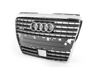 ES#383840 - 4E0853651AB1QP -  W12 Grille Assembly - Grey - Includes the chrome Audi rings - Genuine Volkswagen Audi - Audi