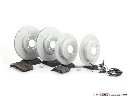 ES#2598044 - 34116768933SLKKT - Performance Front & Rear Brake Service Kit - Featuring ECS GEOMET Slotted rotors and Hawk HPS pads - Assembled By ECS - MINI