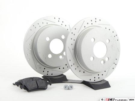 ES#2598375 - 34216774987XSKT1 - Performance Rear Brake Service Kit - Featuring ECS GEOMET Slotted/Drilled rotors and Hawk HPS pads - Assembled By ECS - MINI