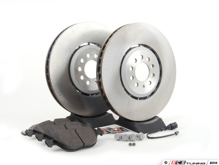 ES#2765725 - 1J0615301AAKT21 -  Front Brake Service Kit (334x32) - Featuring genuine rotors and Hawk pads - Assembled By ECS - Volkswagen