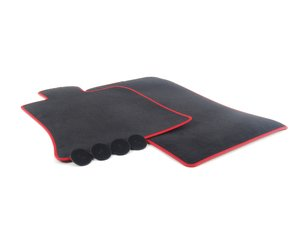 ES#2683988 - 51477330808 - JCW GP2 MINI Floor Mats Front Set - Priced As Set ( RHD ) - Replace or upgrade to factory GP2 MINI mats : black velour with red piping (Right hand drive cars only) - Genuine MINI - MINI