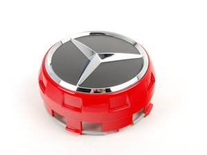 ES#2717031 - 00040009003594 - Center Cap - Priced Each - Clip-in center cap with chrome star on black background, with red surround - Genuine Mercedes Benz - Mercedes Benz