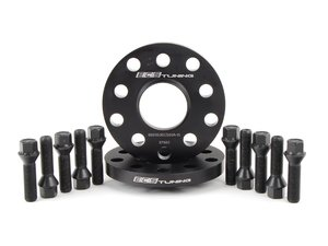 ES#2748258 - 30255571ECSWB1KT - ECS Wheel Spacer & Bolt Kit - 15mm With Black Conical Seat Bolts - Complete kit for two wheels, comes with everything you need to install spacers on your aftermarket wheels - ECS - Audi Volkswagen