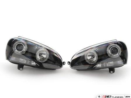 ES#9565 - FKFS9002 - Blackout Angel Eye Headlights - Euro headlight kit with angel eyes for MK5 models - FK - Volkswagen
