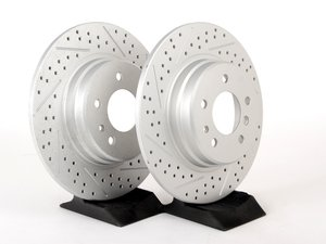 ES#2193008 - 6757748XSGMTLRA - Rear Cross Drilled And Slotted Brake Rotors - Pair (324x12) - Featuring GEOMET protective coating offering superior rust protection for long lasting, great looking rotors. - ECS - BMW