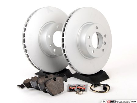 ES#2763160 - 34116757746KT10 - Front Brake Service Kit - Featuring Meyle coated rotors and Pagid pads - Assembled By ECS - BMW