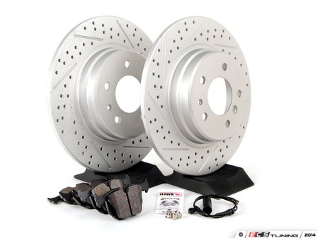 ES#2763205 - 34116757746KT15 - Performance Rear Brake Service Kit - Featuring ECS GEOMET cross drilled and slotted rotors and Hawk HPS pads - Assembled By ECS - BMW