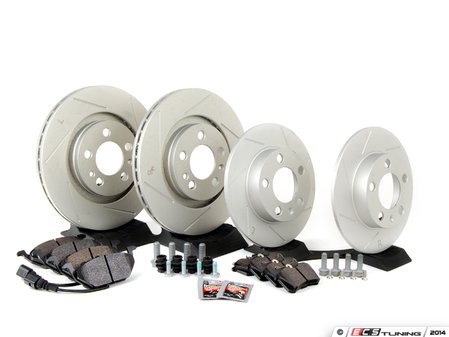 ES#2597882 - 1J0698030S - Performance Front & Rear Brake Service Kit (280x22/232x9) - Featuring ECS GEOMET slotted rotors and Hawk HPS pads - Assembled By ECS - Volkswagen