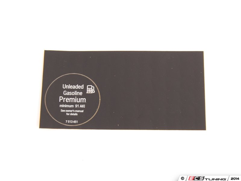 genuine mini 71227513451 notice for fuel label. Black Bedroom Furniture Sets. Home Design Ideas